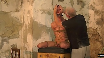 Dirty mature pervert tied up and blindfolded his male slave