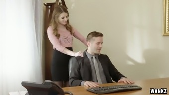 Sex-appeal desk Alice Advance is having soiled sex with her wild person-in-charge