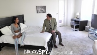 NannySpy Lonely father seduces busty blond Baby sitter Amia Miley