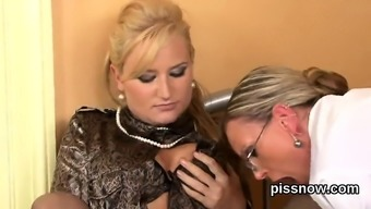 Shocked watchkeeper in panties is geeting urinated on and drilled
