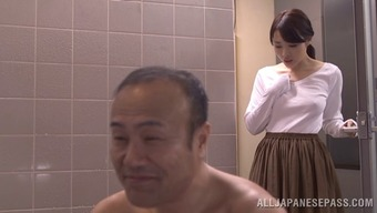 Charming partner in a pleated mini skirts cheats by touching off another adult man