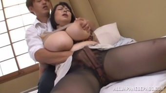 Voluptuous age From asia pornstar gets cum on her great titties after getting fucked great