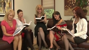 Nina Hartley is definitely one bootylicious age ladies and she adores lesbian orgies