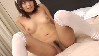 Passionate Japanese maid Akane Mochida gets her brushed pussy stroked