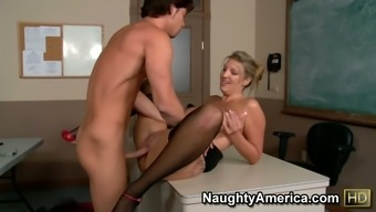 Naughty MILF Jezebel Jones seduces her student and fuck him in a institution lesson