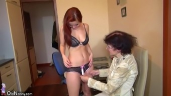 Old granny and beautiful youthful krown masturbating jointly