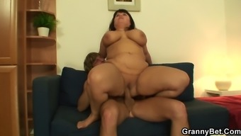 Big tits old women leaps on his challenging phallus
