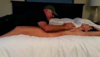 Old man tickles younger stripper