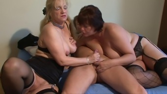Soiled mature women fucked within a threesome compilation