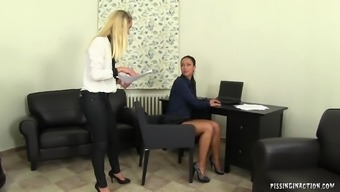 Filthy black chief pissing with her slutty secretary's handle and body