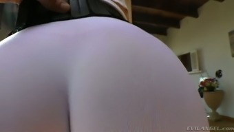 Curvy dirty-minded auburn MILF in qi gong trousers shows off her rising cost of living stupid ass