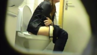 Chunky beginner youngster toilet pussy ass secret monitoring cam voyeur