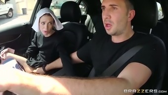 Slutty darkish haired nun gives clammy immersed nose to really her close friend in auto