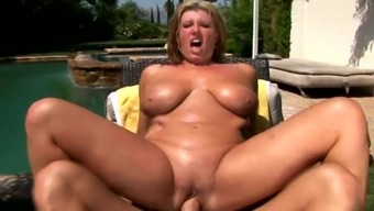 Warm oiled over blonde bitch gets fucking crammed outside