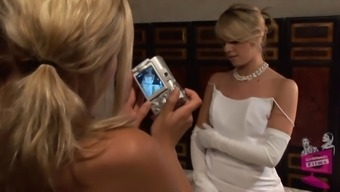 Lena Nicole seduces a shocking bride to be to become within a wedding dress