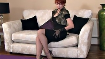 Redheaded Mothers With the use of Stockings In Solo Action