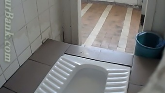 Blond newbie hen filmed from behind among the wc create space