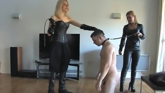 Two different blond mistresses pounding males slave 02