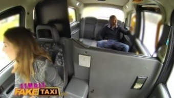 Girl Very fake Taxi Large dark colored cock stretches sexy fitted motor vehicle driver tense hole