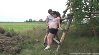 Gorgeous pregnant date is horny as torture and needs to really fuck open air