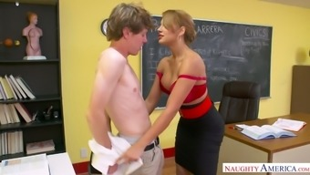 Large great breasted MILFie tutor excursions strong penis in cowgirl become within the school