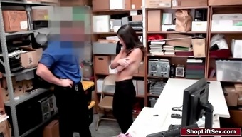 Teen shoplifter caught and fucked in the officers office