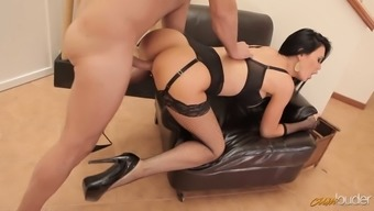 Delicious raven haired lady in hot stockings gets her kitty nailed in doggy and reverse styles tough