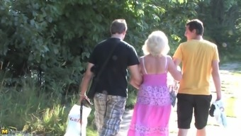 Granny and a couple of community college males have a very threesome among the jungles