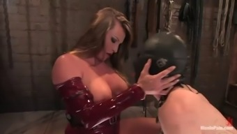 dominatrix fucks man's booty along with strapon before driving his penis