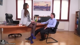 Man eating nasty person Tina Kay seduces her supervisor brilliant business companion