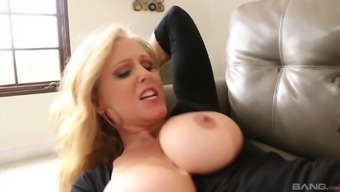 Big tits Julia Ann leaping linked to agonizing wiener and whining