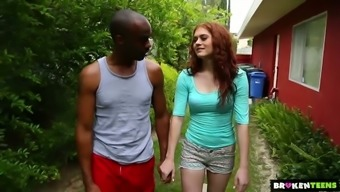 Whitish shiny redhead Alice Ecological goes interracial right outdoor to be fucked clearly