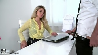 Really attractive brown secretary Mary Kalisy is so into a number of place of work sex