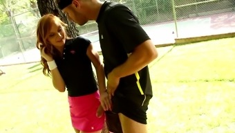 Redhead athletic teen babe Alex Tanner works out on a big dick