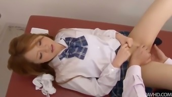 Sakamoto Hikari is given a gyno test by a notably attractive physician