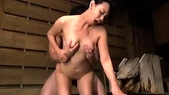 Japanese From asia mature giving blowjob to effectively blessed with good luck guy